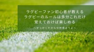 ラグビーファン初心者が教えるラグビーのルール 多分これだけ覚えておけば楽しめる